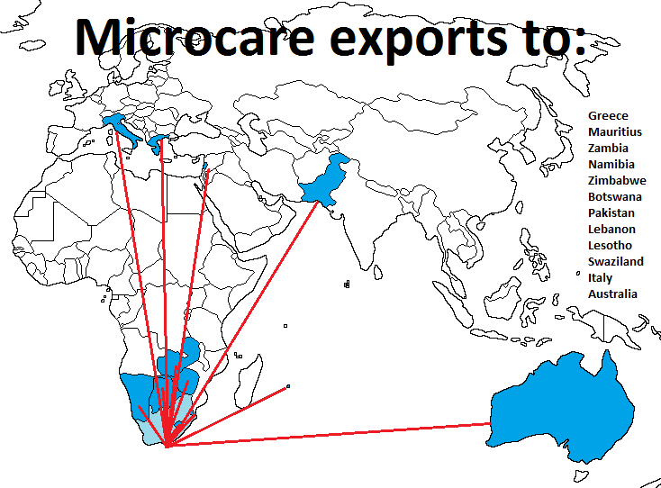 2015 Microcare exports - World Map
